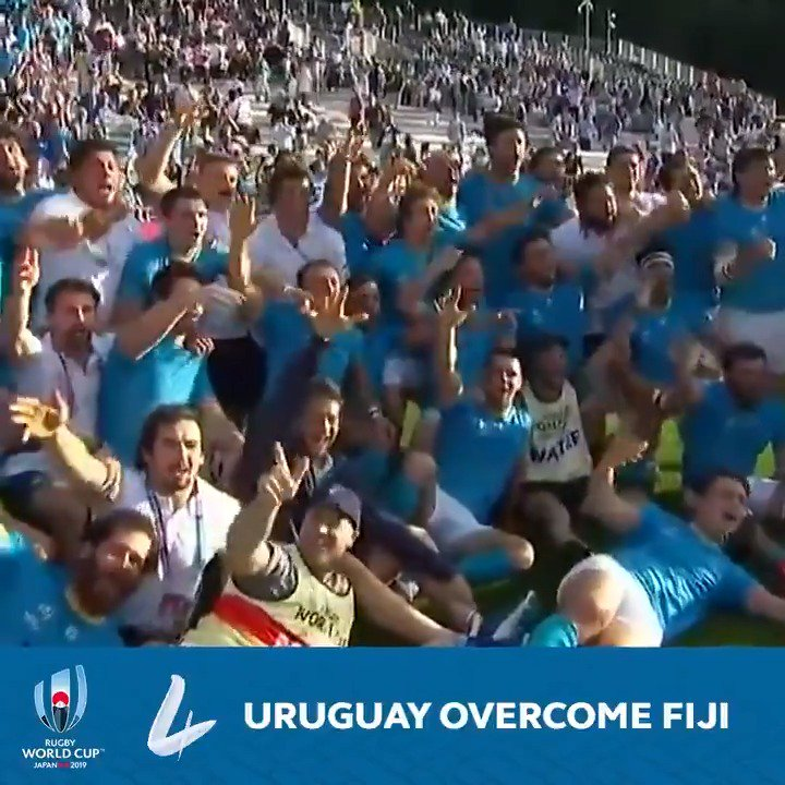 Astonishing scenes in Kamaishi. 16 YEARS after their last Rugby World Cup victory, @RugbyUruguay produce an astonishing performance to beat @FijiRugby 🙌
