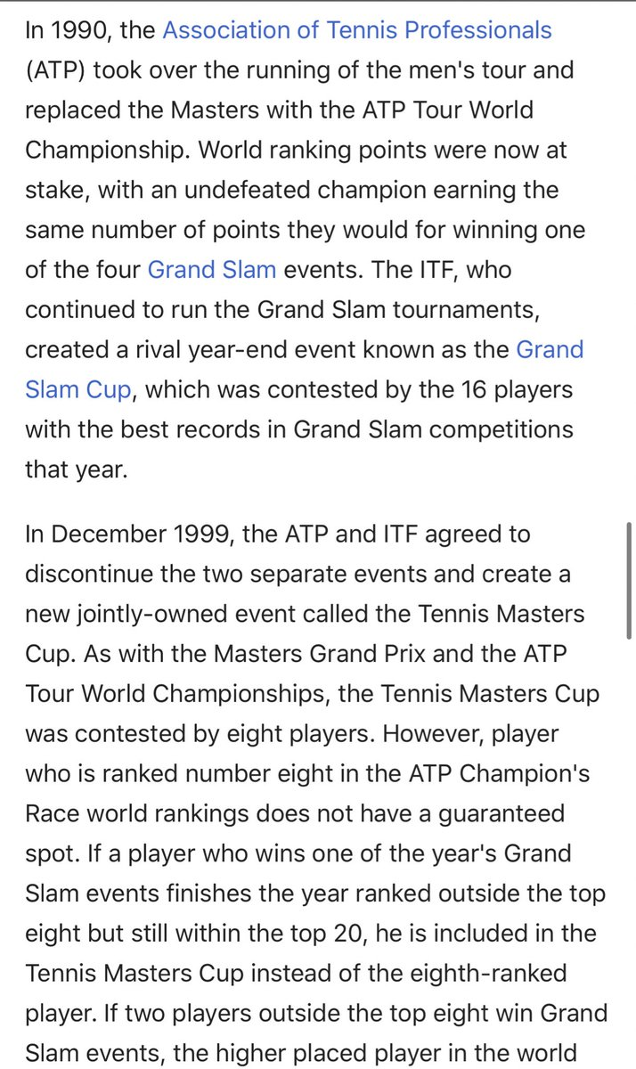 Also this isn't the first time the ITF & ATP have struggled over competing events or calendars.  Last time this happened, the ATP won:   1990: ATP's WTC competing against ITF's GSC  1999: combined ATP/ITF end of season event: Masters Cup  2009: ATP launch sole owned WTF/ATPFinals <br>http://pic.twitter.com/LIaXMzVEXA