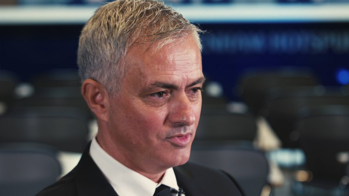 """""""I couldn't be happier and if I was not as happy as I am, I wouldn't be here."""" 📺 Jose Mourinho's first interview as Head Coach. #THFC ⚪️ #COYS"""