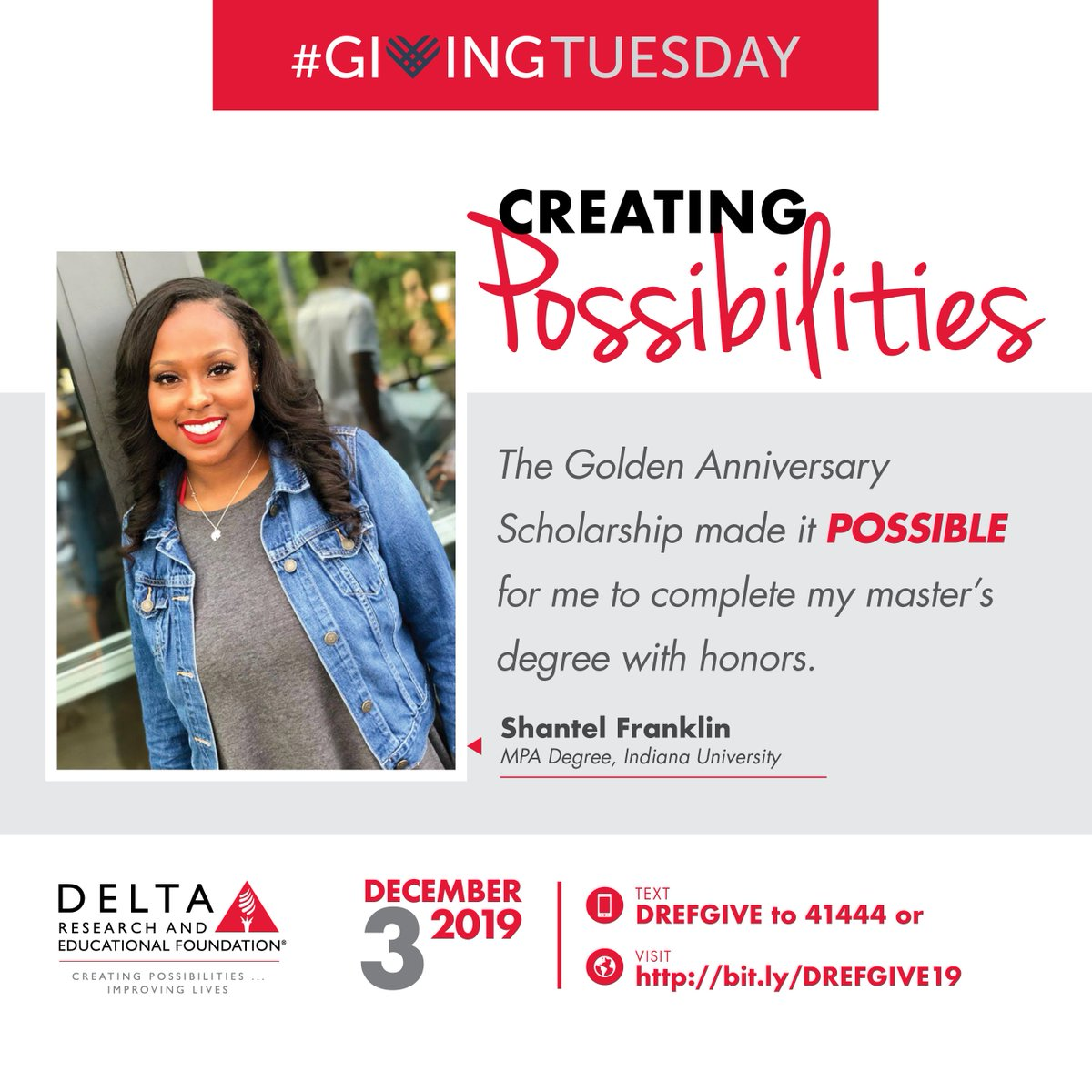 DREF creates  #possibilities for students! With your  #GivingTuesday  donation, will we be able to continue awarding thousands of dollars in scholarship funds to students. Give on Dec. 3.