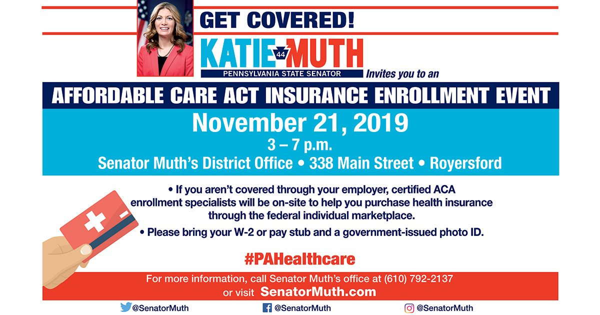TOMORROW!  Those who need help applying for federal health insurance can come by the 44th District Office from 3pm - 7pm for our free enrollment event!  Representatives from the PA Department of Insurance and PA Health & Wellness will be providing info on the plans available.