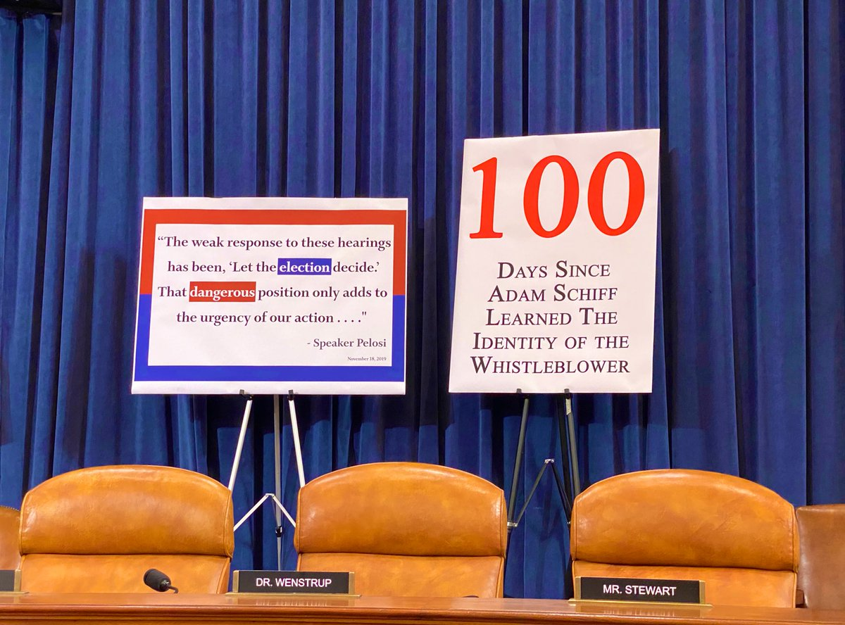 Days since @RepAdamSchiff learned the identity of the whistleblower: 100