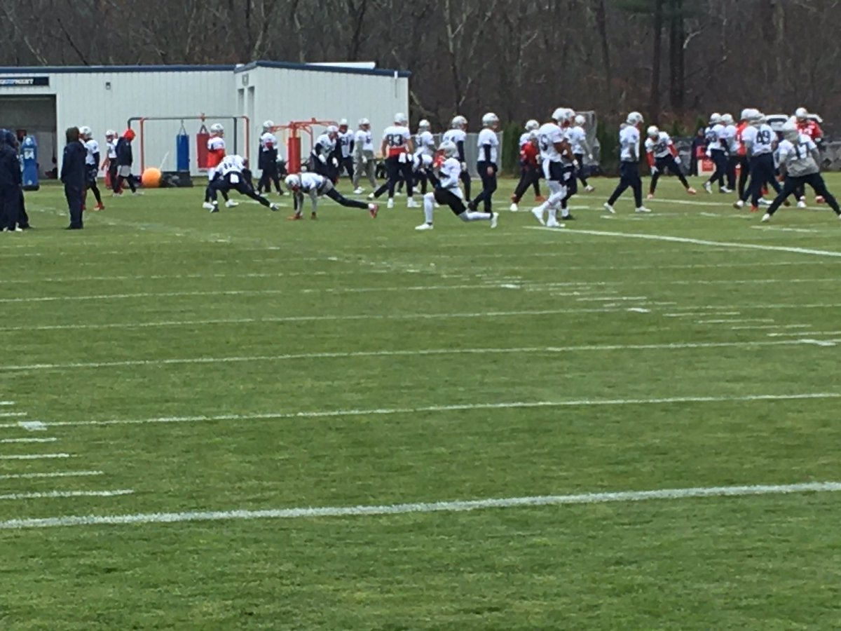 WR Phillip Dorsett, with red gloves attached to his face mask, is here at the media-access portion of practice but WR Mohamed Sanu is not. Sanu was banged up on a punt return Sunday but played through it. It also appears that the Patriots are adding a WR to the practice squad.