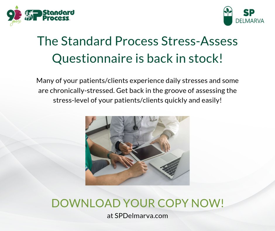 The Standard Process Stress-Assess Questionnaire is back in stock! Grab a copy now at  http://bit.ly/2IahmGA   Visit our website at  http://bit.ly/2IahmGA    #spdelmarva  #wholefoods  #plantbased  #nutrition  #health  #realfood  #organic  #whole  #health  #food  #eatclean  #19JH00688