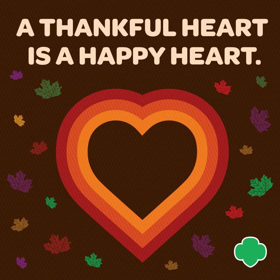 Girl Scouts of Colorado offices statewide and the #GSColo  Retail Shop will be closed November 25 - 29 for the #Thanksgiving  holiday. Normal hours resume December 2. #HappyThanksgiving
