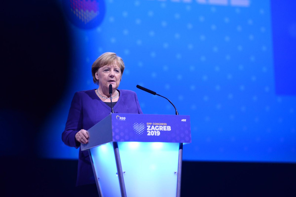 Angela #Merkel Without the help of our European friends Berlin wall would not fall 30 years ago. The role of @EPP is to build bridges. #EPPZagreb #OneEurope #OurPlanet #YourParty