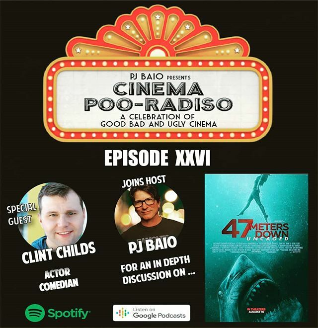 #cinemapooradiso Ep. 26: #47MetersDownUncaged Actor/Comedian, @ClintChilds joins host @PJBaio to talk the #CGIShark sequel to #47MetersDown. We also Review #DoctorSleep, talk a little #PlayingWithFire, and movie ticket subscription service, #Sinemia. Lis… https://ift.tt/2CZzpgj pic.twitter.com/yvoS0vtCyV