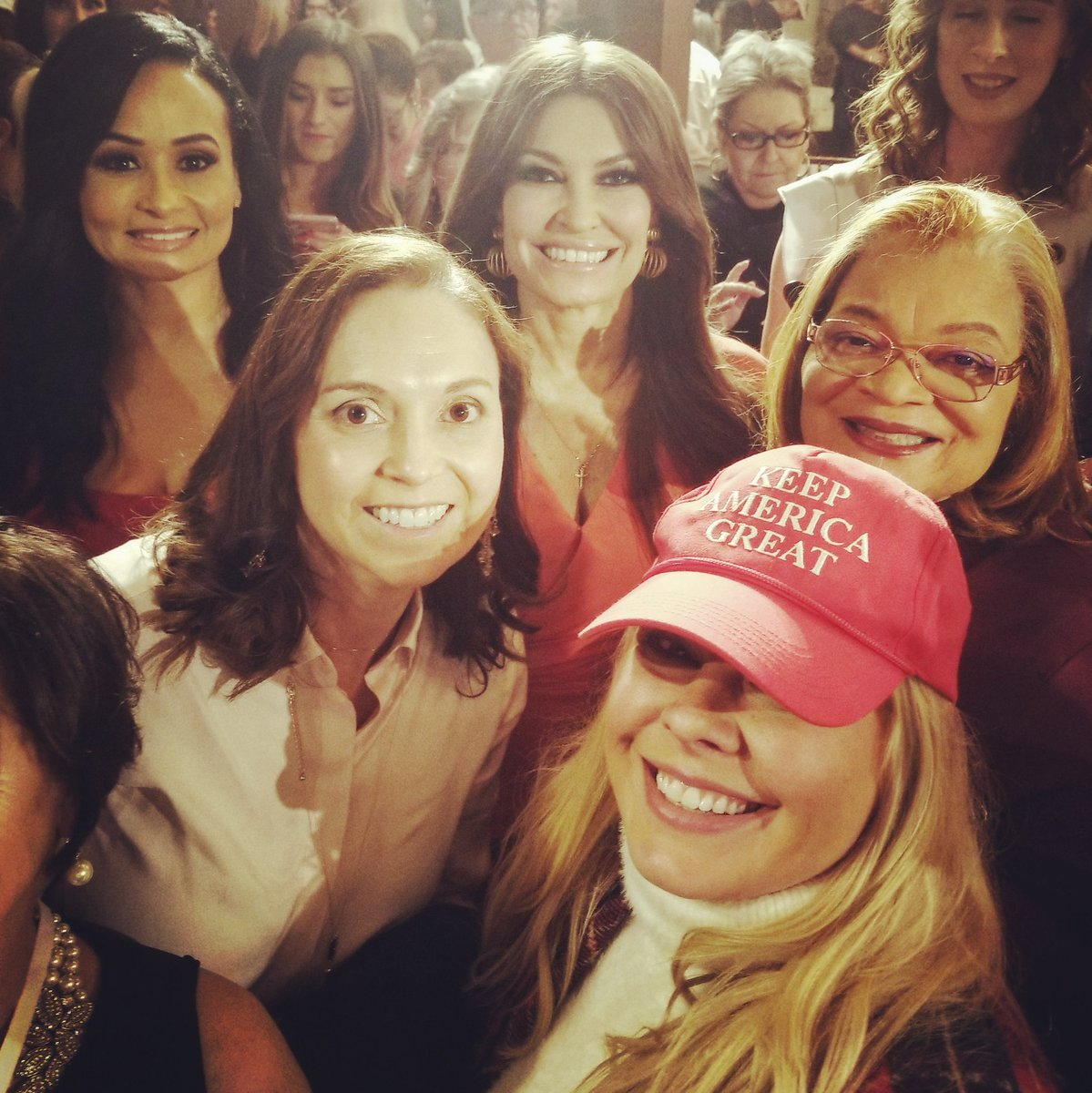 Had an amazing night at last nights @WomenforTrump  rally in #Atlanta . An honor to stand next to @AlvedaCKing  @kimguilfoyle  @KatrinaPierson . And I made a new Trump & 2A-supporting friend to my right. Black, brown and white women all turned out in support of #Trump2020 ! #KAG  #MAGA