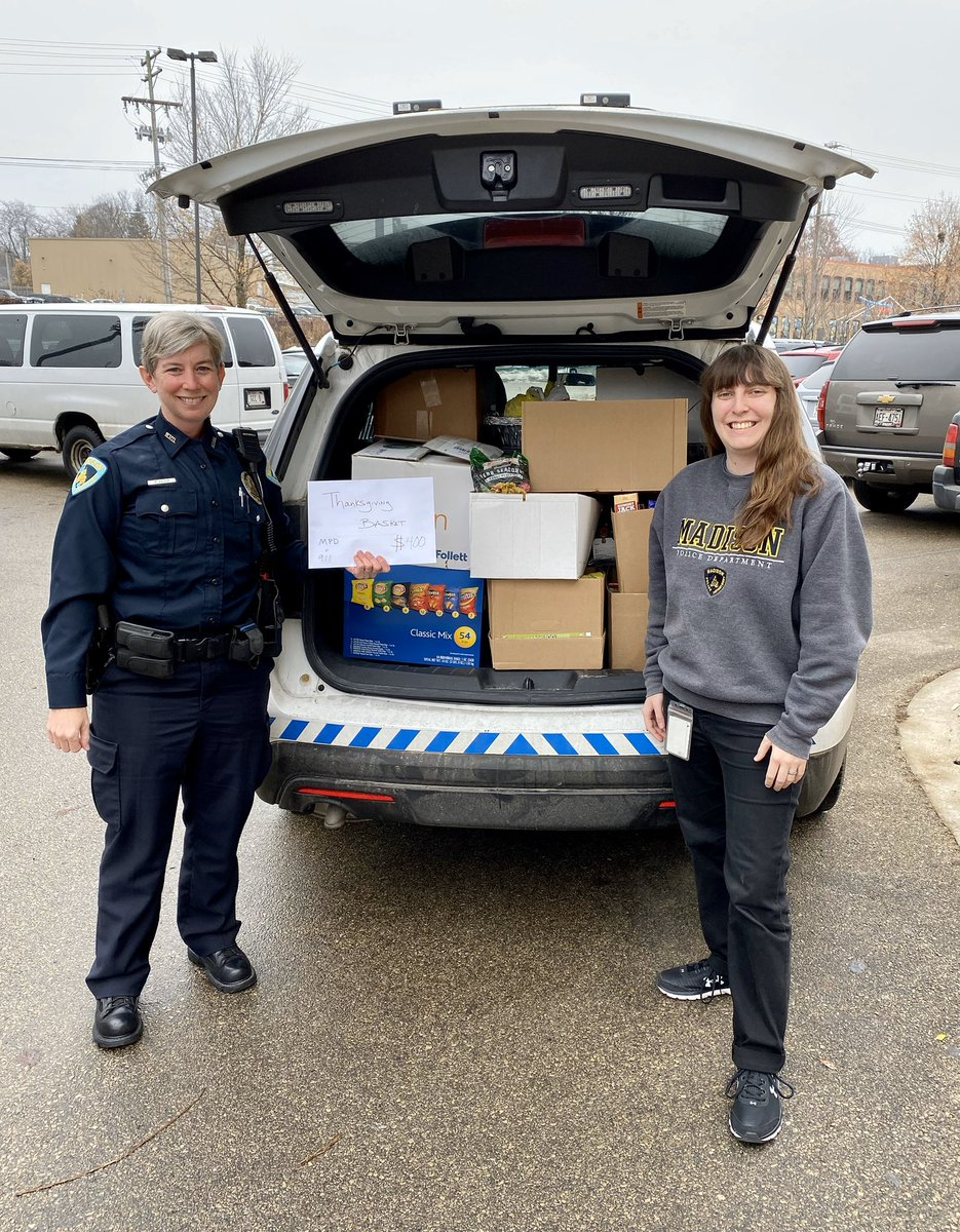 MPD employees and Dane County Public Safety Communications (9-1-1) collected $400 in CA$H and quite a healthy haul of non-perishable food items to donate to the Goodman Center!  #HappyThanksgiving  #GivingSeason  #MPDstrong