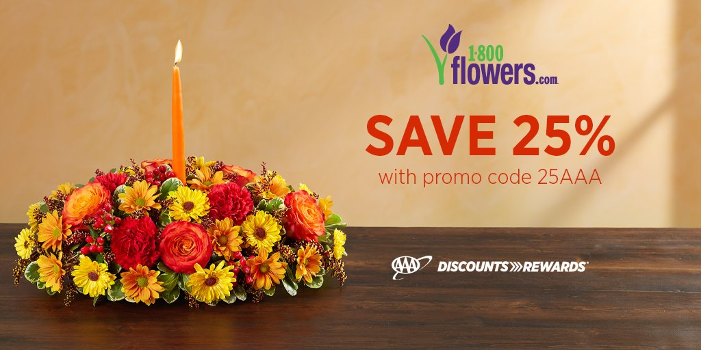 Show them just how much you appreciate them with truly original Thanksgiving flowers from @1800Flowers. Use your #AAADiscounts to save 25% now through 11/28/19.