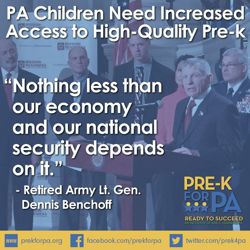 Military leaders agree - PA children need increased access to high-quality pre-k! #iamprek #PreKWorks