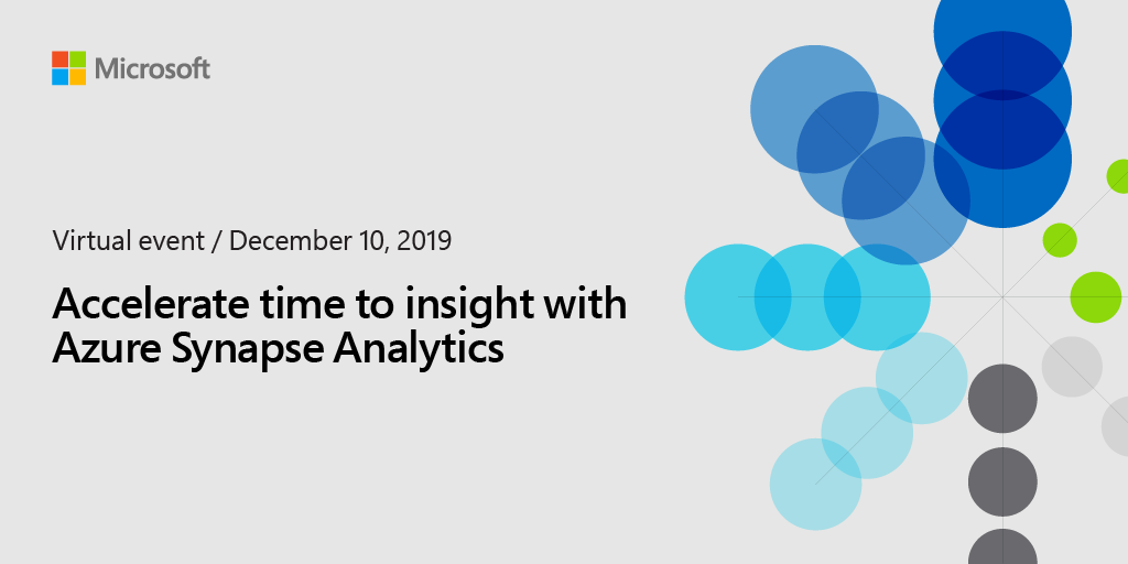 Join us for the Analytics in Azure virtual event on 12/10 to experience #AzureSynapseAnalytics, a limitless analytics service with #SimplyUnmatched time to insight. Register now: http://msft.it/6013TpJq5