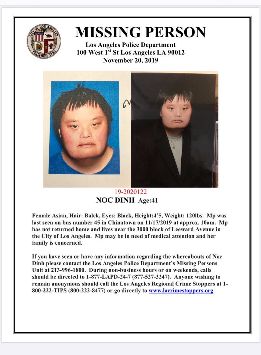 🚨 never thought I'd have to make one of these, my aunt has been missing around LA- Chinatown Area. She suffers from Down Syndrome & needs medical attention, it's been 3-4 days. please just RT, we need her back. I know y'all can help 🚨 https://t.co/IGOanya56S