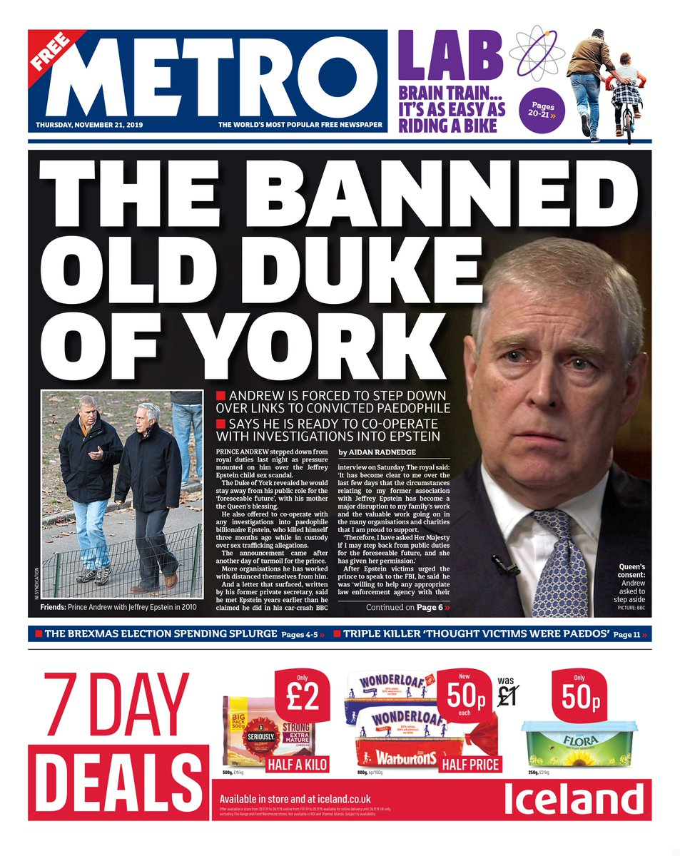 📰 Thursday's front page:THE BANNED OLDDUKE OF YORK#tomorrowspaperstoday #bbcpapers #skypapers