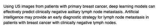 #LymphNodeMetastasis Prediction from #PrimaryBreastCancer #BreastUS Images Using #DeepLearningLi-Qiang Zhou, MD et alHuazhong U. of Science & Technologyhttp://ow.ly/CDH150xgrf9 @radiology_rsna