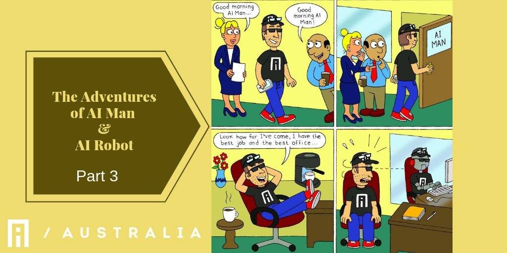 The adventures of AI Man and AI Robot. Part 3#artificialintelligence #ai #comic #comicstrip #machinelearning  #innovation #bigdata #datascience #tech #robotics #deeplearning #programming #robot #future #coding #data #robots #startup #aiaustralia #automation #AIMAN #airobot