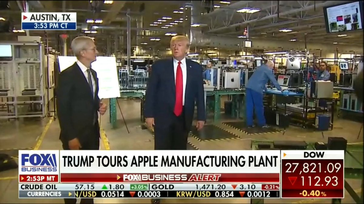 President  @realDonaldTrump visited the  @Apple manufacturing plant in Austin, Texas, with Apple CEO  @tim_cook today!