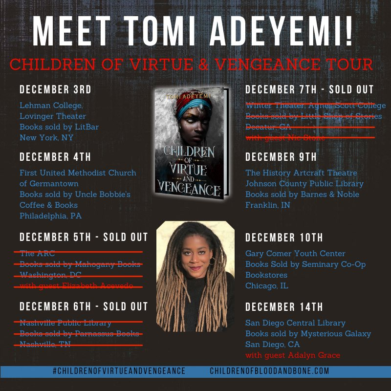 we got two weeks till tour!!!!  DC, NASHVILLE, and ATLANTA are sold out but there's still tickets available for:  - NYC - PHILADELPHIA - INDIANA - CHICAGO - SAN DIEGO   at http://childrenofbloodandbone.com  i can't wait to see you guys!!!