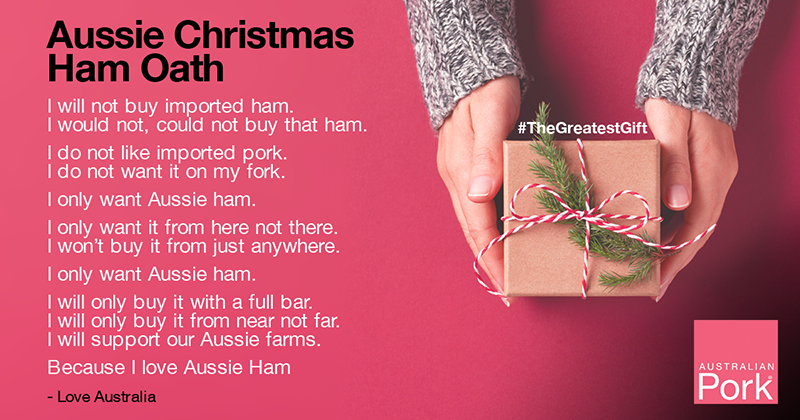 This #AgDayAU, we at @Australian_Pork would like to remind you that #thegreatestgift you can give an #aussiepig farmer is buying #aussiepork #Weareaussiefarmers #AusAg #aussiehamoath