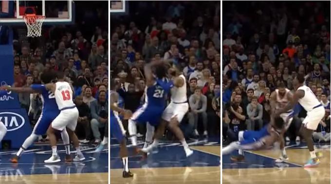 【影片】Morris爭搶籃板球直接放倒Embiid,雙方球員圍成一團,險爆發衝突!