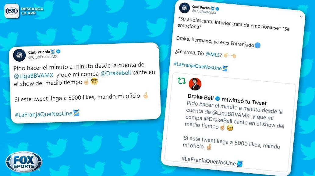 ¡YA SE APUNTÓ PARA EL SHOW DE MEDIO TIEMPO!  #CentralFOX La divertida publicación del Puebla a la que Drake Bell reaccionó, luego de ser propuesto como el espectáculo estelar del Juego de Estrellas 2020 entre la MLS y la Liga MX por la Franja