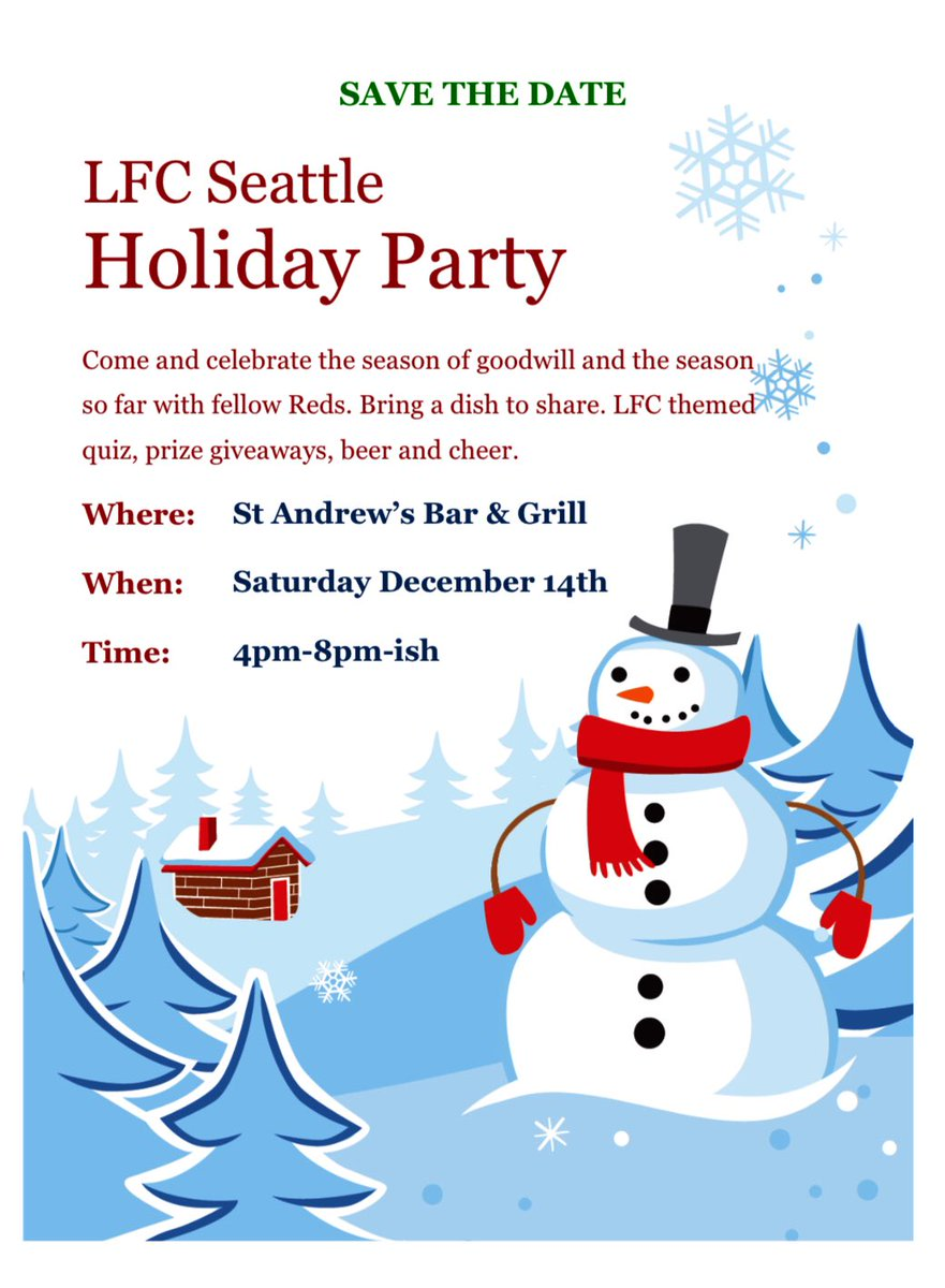 So while the dreaded (except for Gini!) International Break is almost over, we ask you to Save the Date of December 14, 2019 for our annual Holiday Party. See the attached for all the details. Hope to see you there. #YNWA