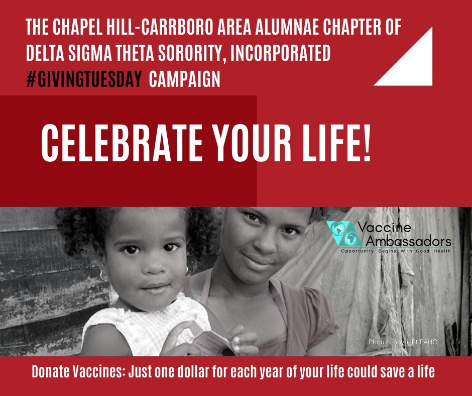 @CHCAA1979 of @DST1913 is teaming up with @VaxAmbassadors in a Celebrate Your Life #GivingTuesday Campaign! Just $1 for each year of your life could save a life! Click here to donate:  https:// bit.ly/2CJSjrF     #DST1913 #ServiceInOurHeart <br>http://pic.twitter.com/uMRB4GLOTa