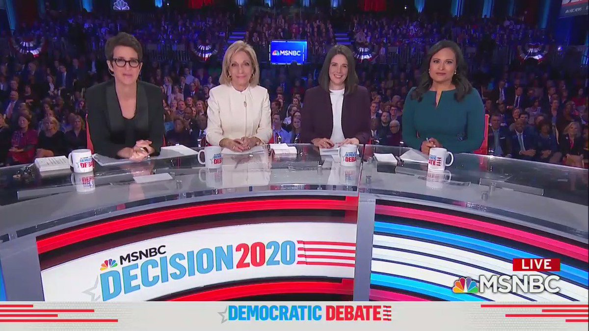 For the first time in this election cycle, the moderators of tonight's debate are all women: Andrea Mitchell, Rachel Maddow, Kristen Welker and Ashley Parker.