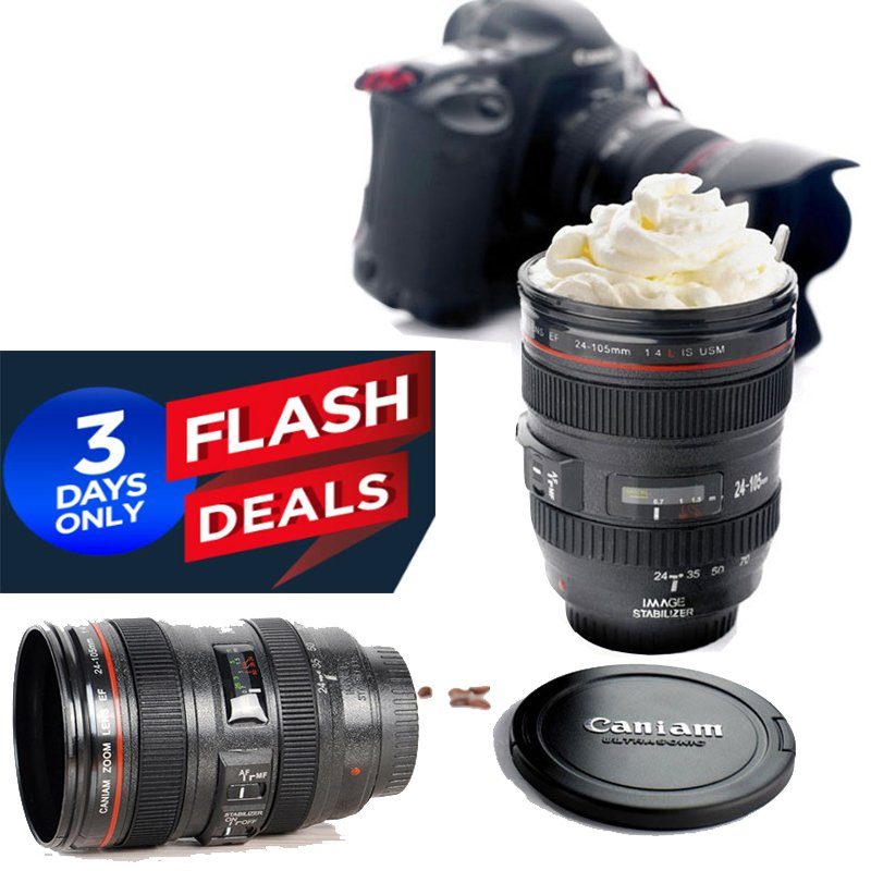 Camera lens cup 24-105 Coffee Travel Mug Thermos Stainless Steel Realistic look