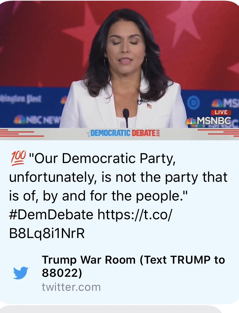 The Trump campaign is literally—LITERALLY—pushing Tulsi Gabbard's clips to attack Democrats.  Y'all, how long are we going to keep up this charade?  #DemDebate