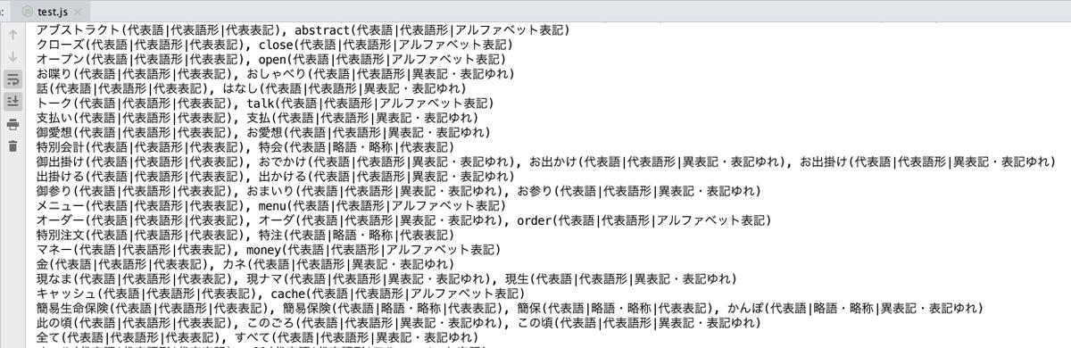 Sudachiの同義語辞書を使って、同一語彙の対比をだせるようになった。半分ぐらいはカタカナと英語なのかな