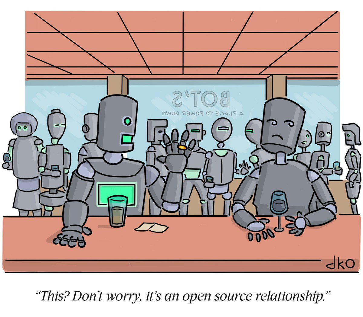Tired: Non-monogamous  Wired: Open Source  By David Ostow with @collectcartoons