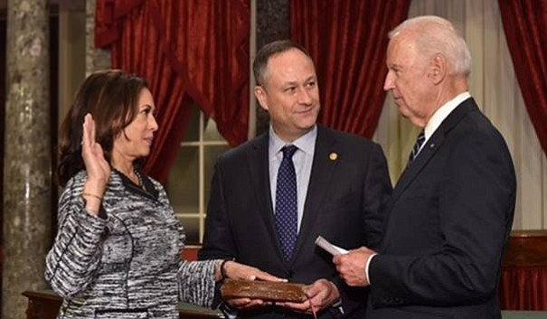 here's Biden swearing Kamala in as Senator