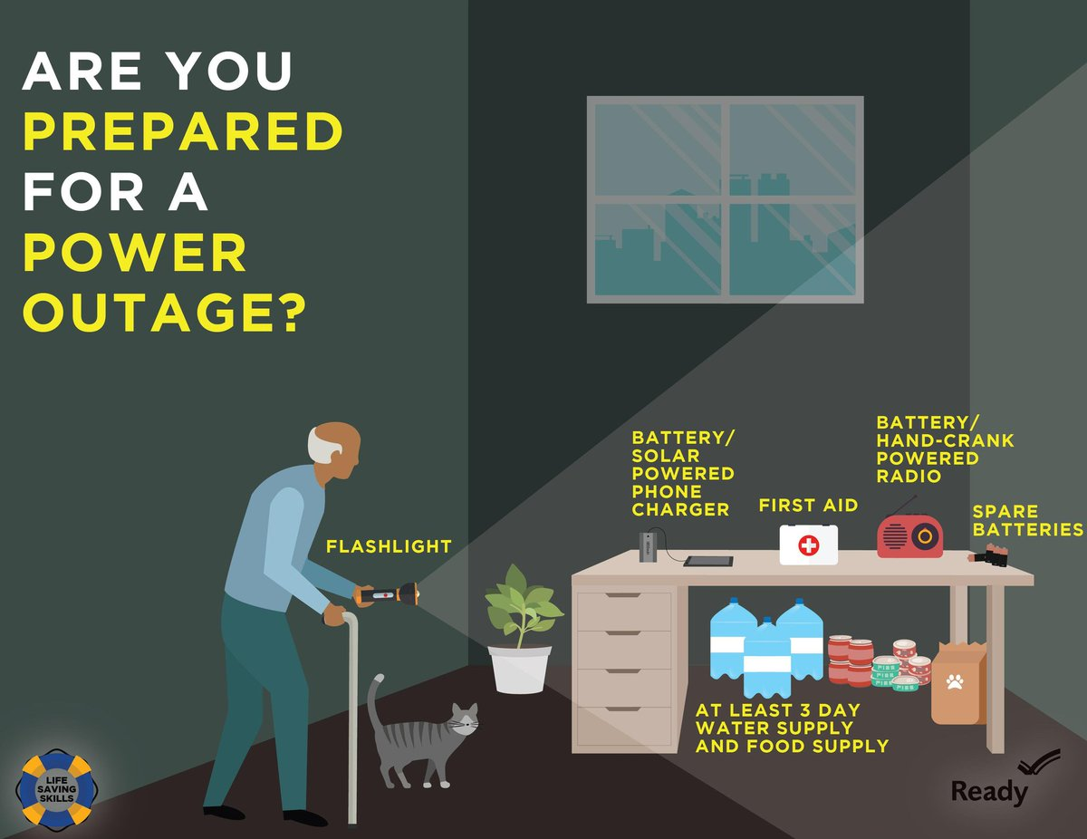 Sometimes you know when a #PowerOutage may come, sometimes you don't.No matter how much heads-up you have, make sure you & your family have a plan to get through safely with these tips from @Readygov: https://www.ready.gov/power-outages #health #PSPS #PowerShutoff #WednesdayMotivation
