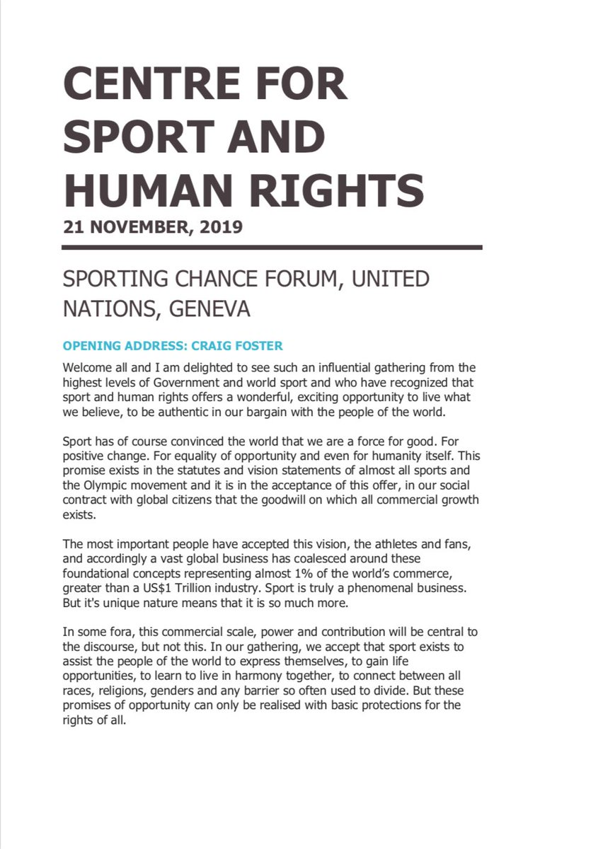 Sporting Chance Forum @UN Geneva. Opening address. Human rights will ensure that all of our vision statements and slogans need not be reprinted nor our bargain remade. Sport & Human Rights: For the Game. And far more importantly, For the World @UNHumanRights @ilo @SportandRights