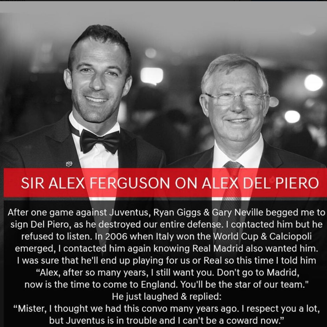 "Football Tweet on Twitter: ""Sir Alex Ferguson talking about Alessandro Del  Piero.… """