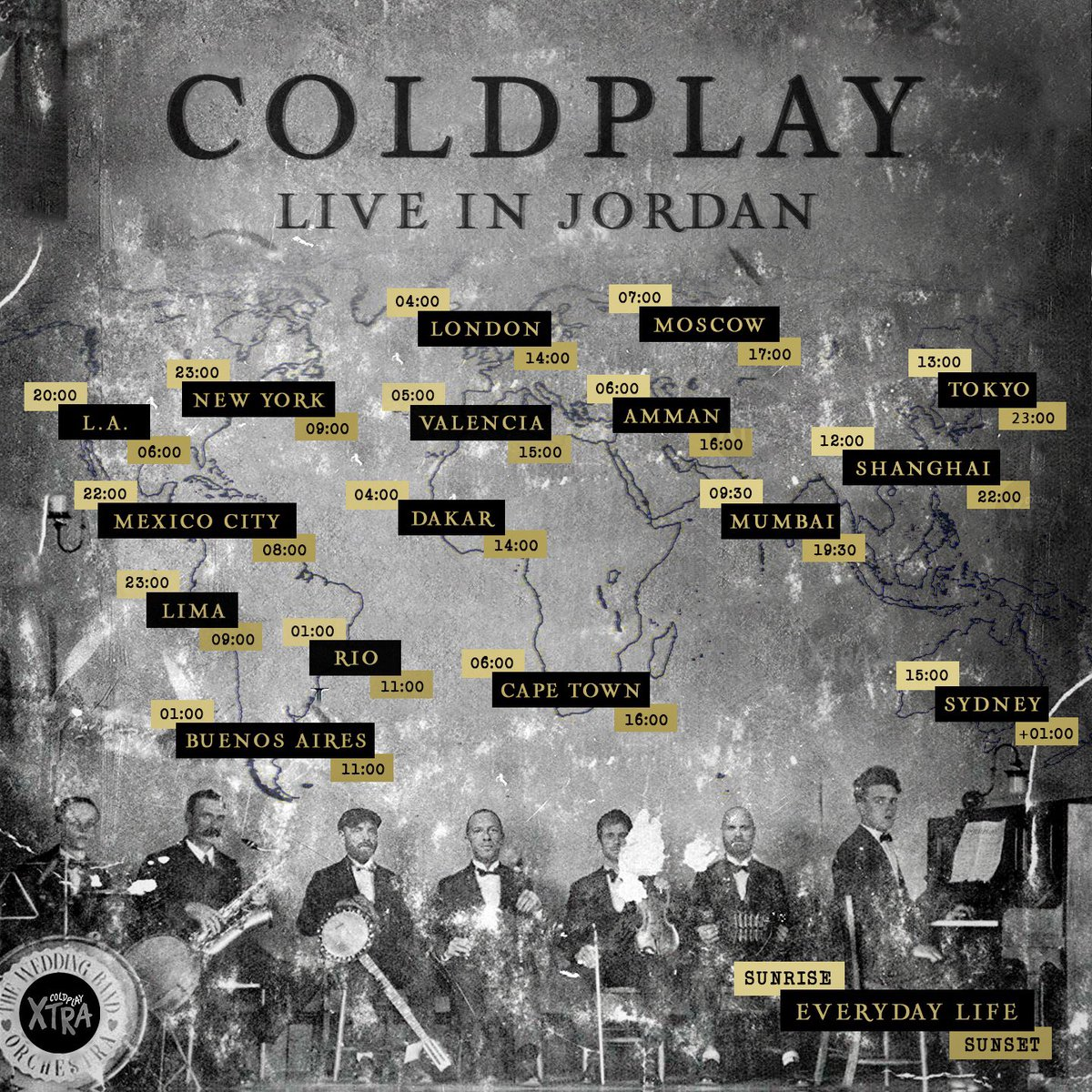 Tomorrow is the big day 🙌Coldplay's new album #EverydayLife performed live at Sunrise & Sunset from Jordan - Live on @YouTube 🌙☀️#ColdplayJordan