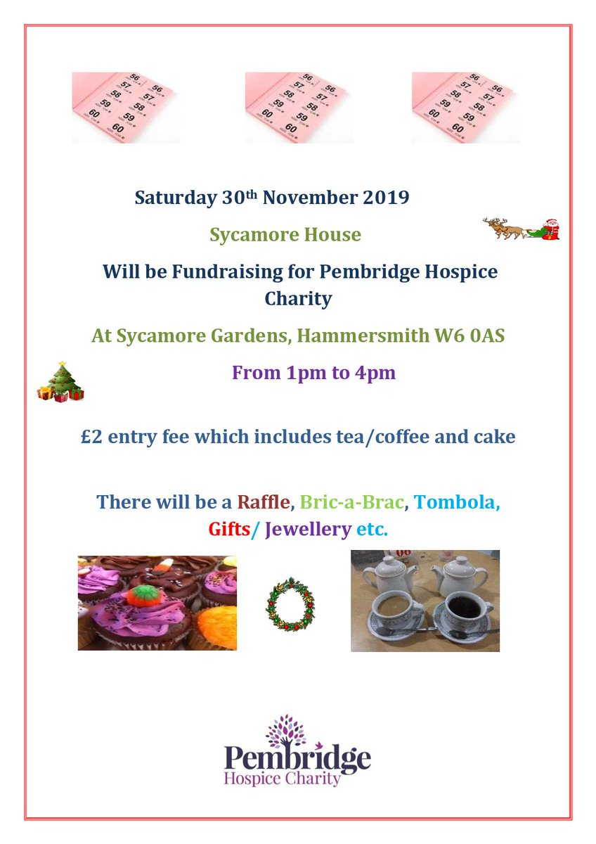 Morning #hammersmith, residents of @HamUnited Sycamore House are fundraising for @PembridgeLife on Saturday 30th November W6 0AS. Please come and join them for tea, cake, bric a brac and an opportunity to meet your neighbours