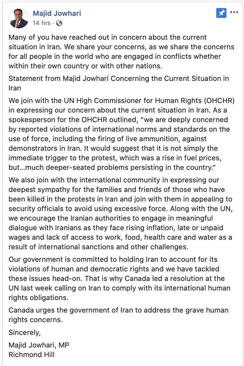 MP Majid Jowhari made a statement on Tuesday. The same day as the other Iranian-Canadian politicians. It was on Facebook. I saved this screenshot from a post I saw. Saying he does not support is wrong. Look at the last two paragraphs. Please spread correct information. #Iran
