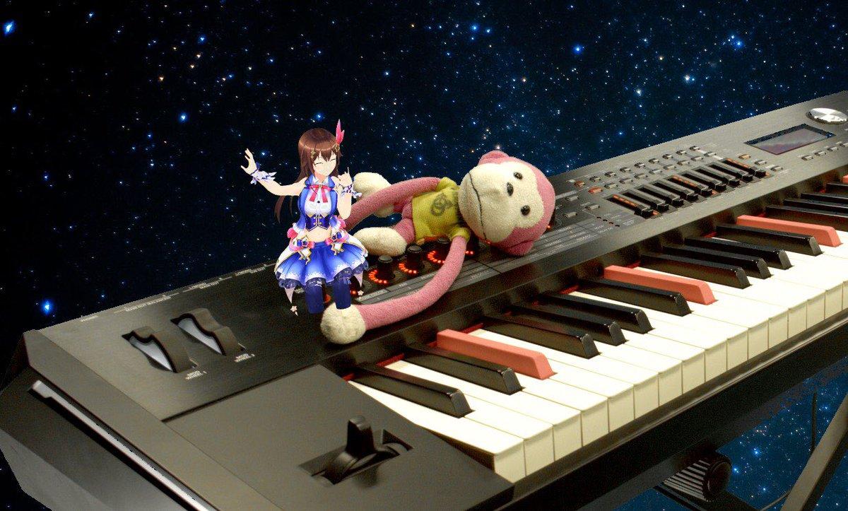 ときのそらさんとのコラボ生放送どうもありがとうございました㊗️🎉🍾👏💖🎂🎁めちゃめちゃ楽しい時間でした!歌もピアノもおしゃべりも美少女化も幸せでした笑🎹🐵🐻
