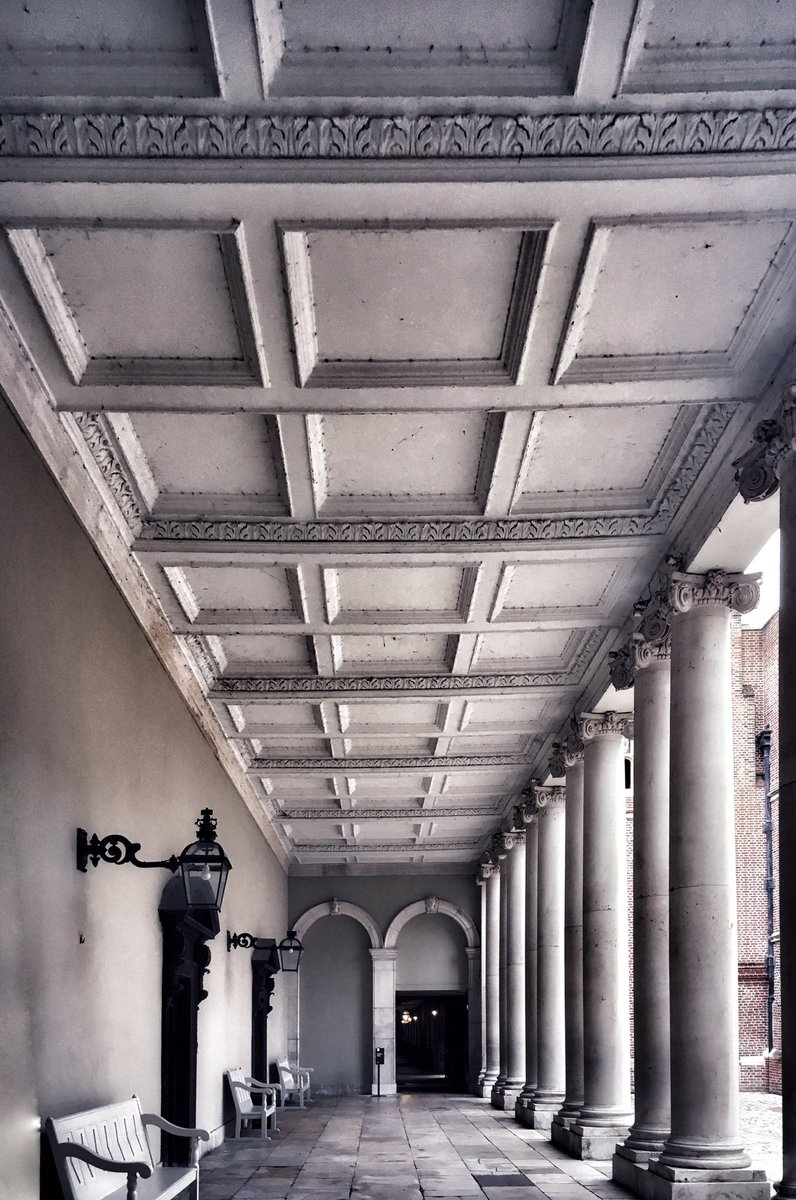 Under the colonnade, Clock Court, Hampton Court Palace, on a quiet cold November afternoon.