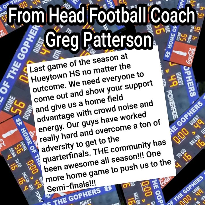A message from  Head Football Coach  Greg Patterson