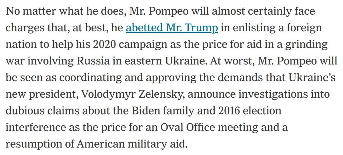 This is an absolutely devastating paragraph about @SecPompeo, who has now been deeply implicated in Trump's corrupt plot to place US foreign policy at the disposal of his reelection campaign, from @SangerNYT and @ewong:
