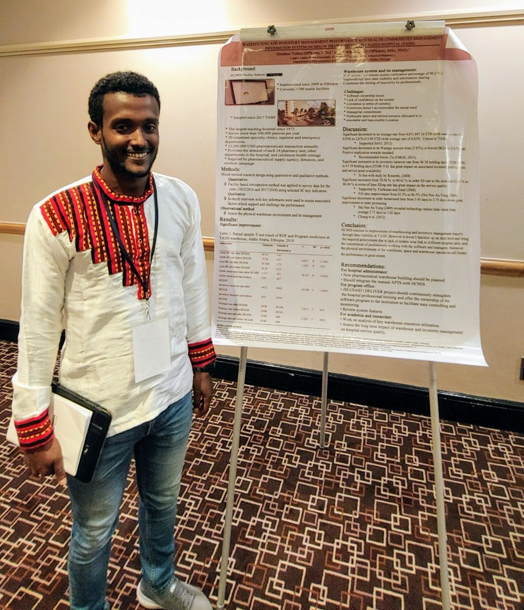Getahun Tefera, Tikur Anbessa Hospital  #Addisababa poster at  @ghsc_summit on impact of Dagu LMIS at pharmacy. Order fill rate: 71% to 85%, order turnaround time improved by c. 30%, inventory turnover: 0.6 to 0.9, waste declined.  #technology works  @JSIhealth  @EPSA_Ethiopia