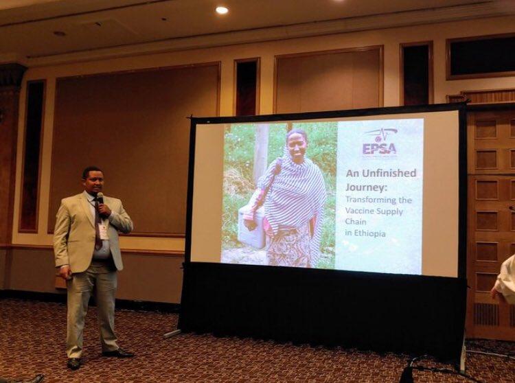 Mr. Tesfalem Adraro representing  @EPSA_Ethiopia  at  #GHSCS : sharing our An Unfinished Journey transforming the Vaccine Supply Chain of  #Ethiopia. Good Luck.   @JSIhealth  @GHSupplyChain  @amirabiy  @LokoAbraham1  @Yadav_supplychn  @gatesfoundation  @lia_tadesse  @UNICEFEthiopia