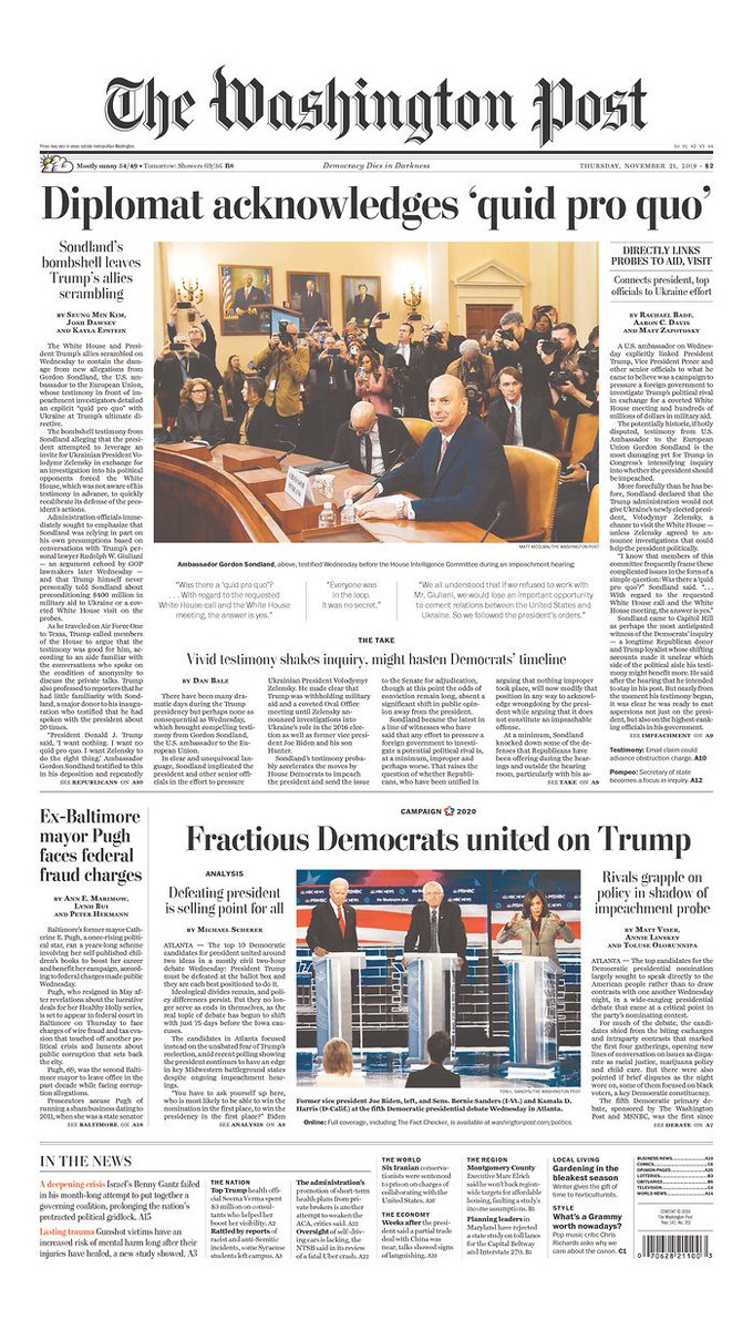 Yesterday, history was made. A man who paid $1 million to Donald Trump's inaugural committee to secure an Ambassadorship implicated the President and his top aides in a scheme to bribe a foreign government for political dirt. A sampling of today's front pages around the country: