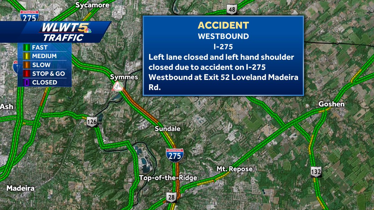 The left lane is closed on I-275 WB after Loveland Maderia Rd in Symmes Township because of a crash. Traffic is starting to slow down @WLWT #WLWT
