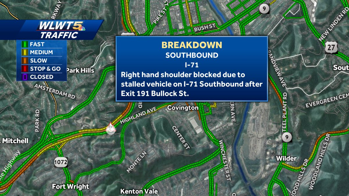 The right shoulder is blocked because of a stalled vehicle on 71/75 SB after Bullock St in Covington @WLWT #WLWT