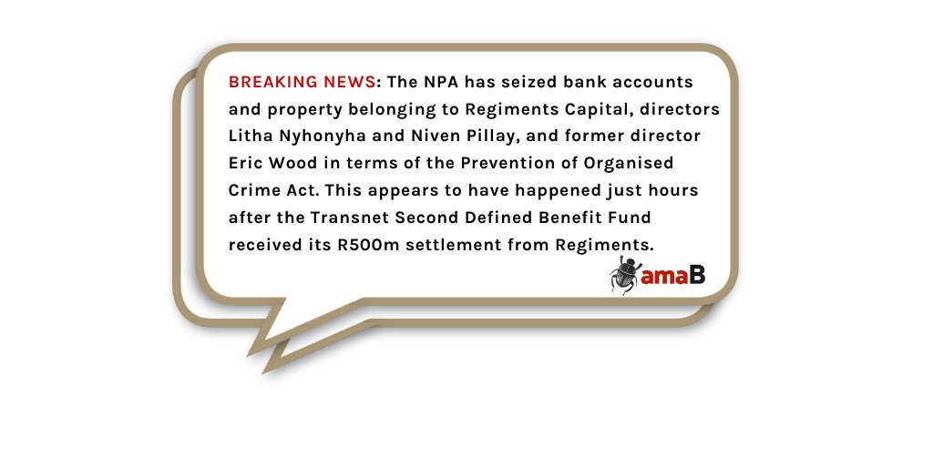 AMABHUNGANE BREAKING NEWS: The #NPA has seized bank accounts and property belonging to #RegimentsCapital, directors Litha Nyhonyha and Niven Pillay, and former director Eric Wood in terms of the Prevention of Organised Crime Act ... @amaBhungane