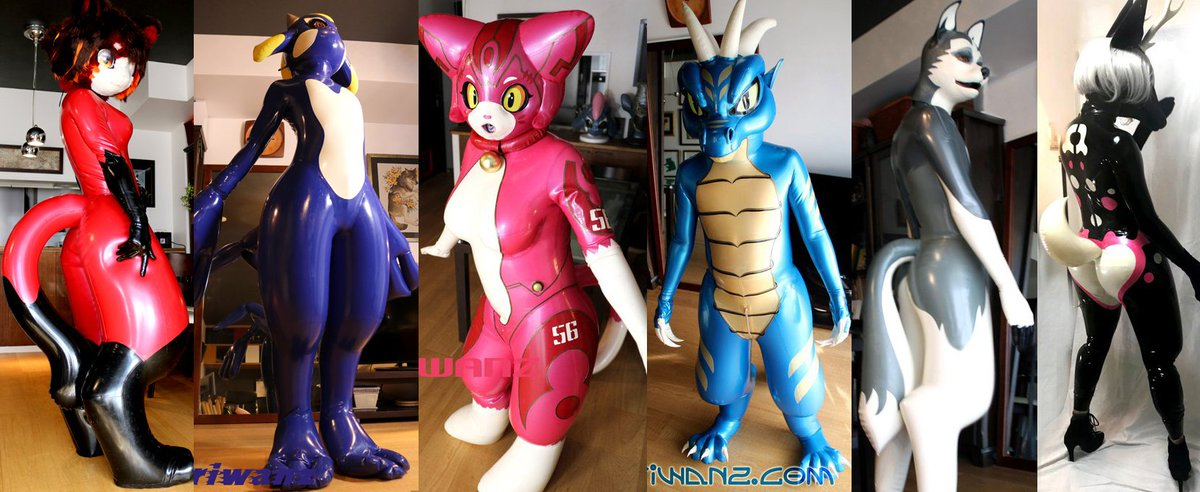 Kariwanz,we made inflatable latex suits! インフレータブル(空気で膨らむ)ラバケモさんたちです。 ぷにぷにでプリプリで可愛いのです! #inflatablerubber #Digilegs #inflatablelatex #digitigrade #latexsuits #ゴム #latex #rubber